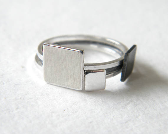 Square Silver Ring Minimalist Stacking Rin by Airlab,