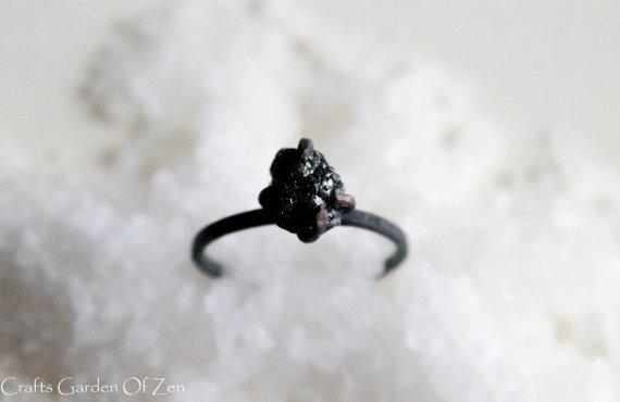 Black Raw Diamond Ring by CraftsGardenOfZen