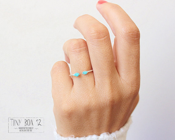 Small Delicate Raw Turquoise Ring