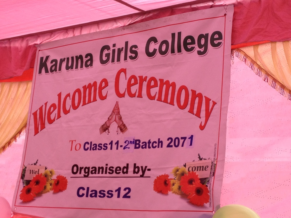 Last year's class organizes this welcome for next year's girls.JPG