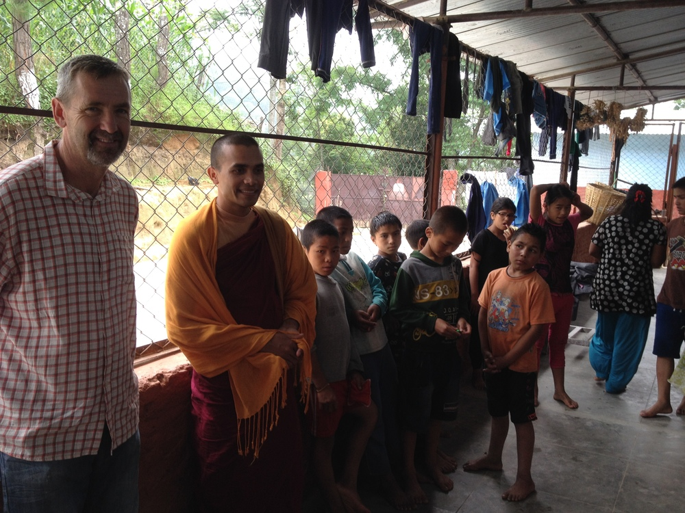 M invites orphans to Lumbini.JPG