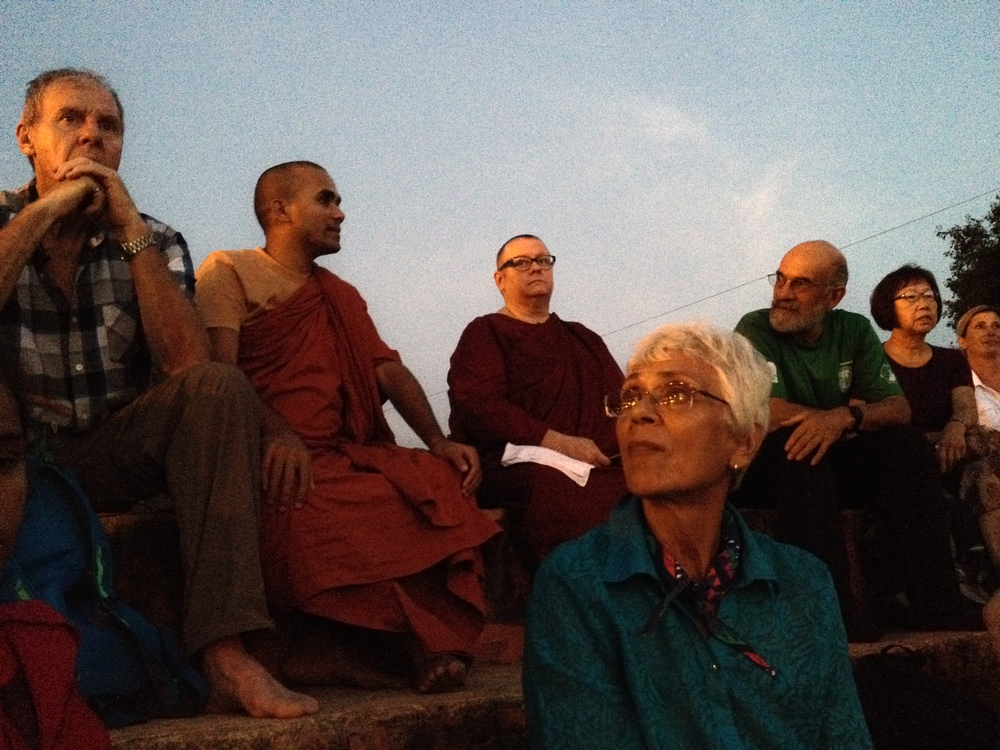 Dharma talk at Dusk in Buddha's Birthplace.JPG