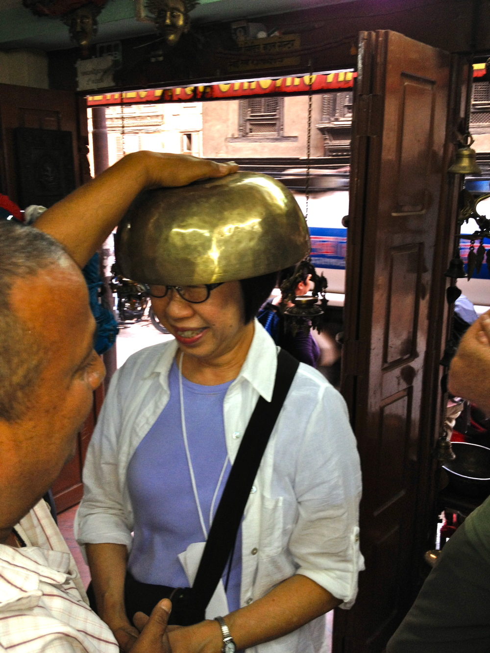 Faye experiences singing bowls on a large scale in Patan.jpg