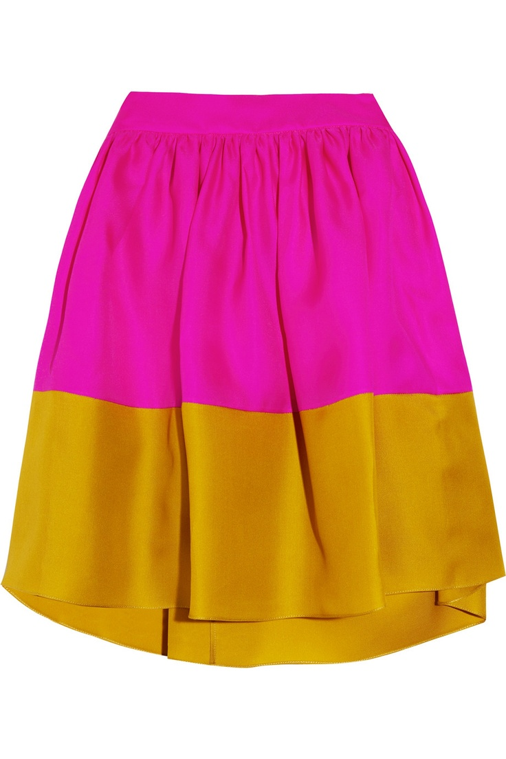 Jim color-block silk-twill mini skirt