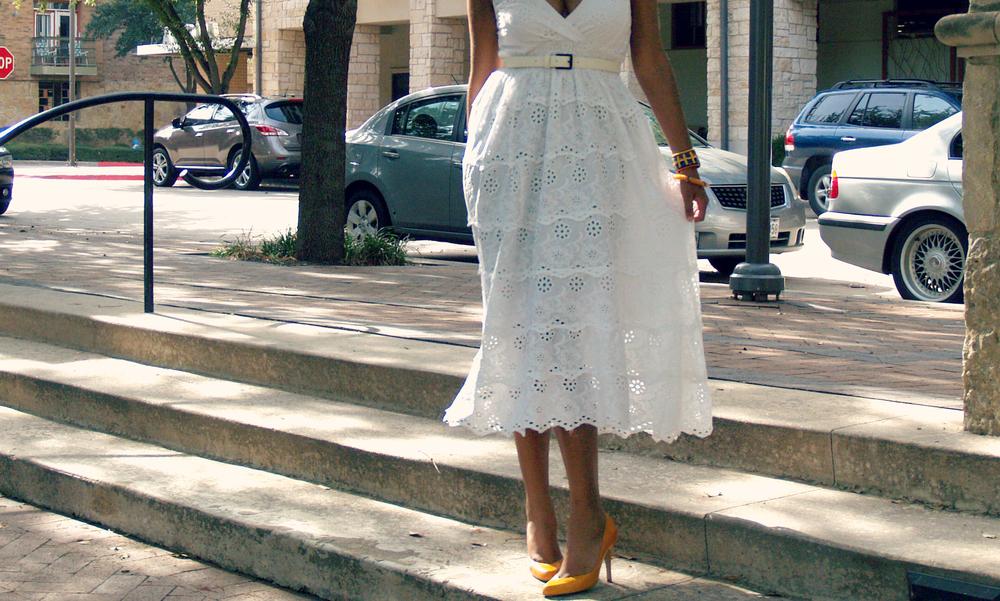 white breezy dress