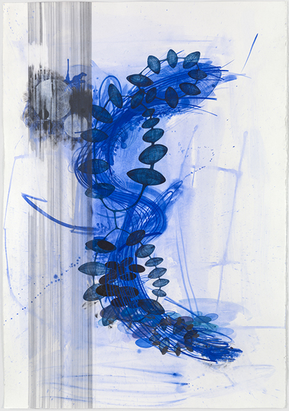 "Yvonne Estrada, ""LD23-14 Blue"" watercolor, gouache, graphite, ballpoint pen on paper 60 x 41 inches"