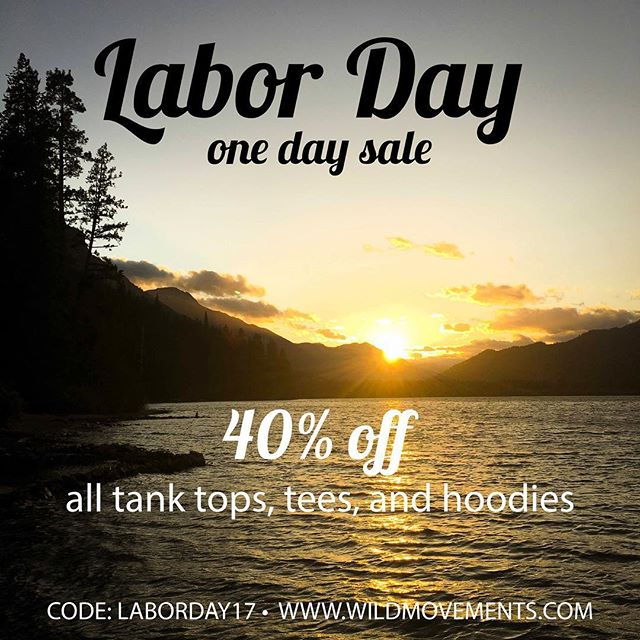 We are back from camping and ready to clear out our summer inventory with the biggest sale of 2017! One day only - 40% off ALL tanks, tees, and hoodies with CODE: LABORDAY17.  Hand printed in our own studio right here in the PNW 🌲. And yes, thatalso includes our most popular organic crop tank 🌱 that will quickly become your yoga wardrobe staple. . . . . . #summertime #staywild #wildchild #laborday #labordaysale #pnw #upperleftusa #mtnchicks #smallbusiness #organic #madeinusa #yoga #croptank #ventureout #exploretocreate #ponderosa