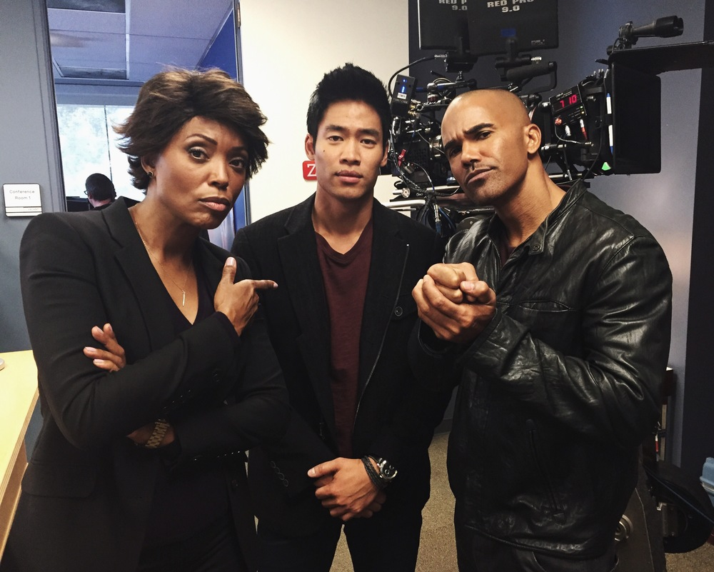 "Actors Aisha Tyler, David Lim, and Shemar Moore on the set of Criminal Minds ""Drive"""