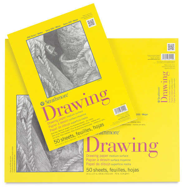 "Drawing pad 11"" x 14"" to 18"" x 24"" 70 lb smooth white"