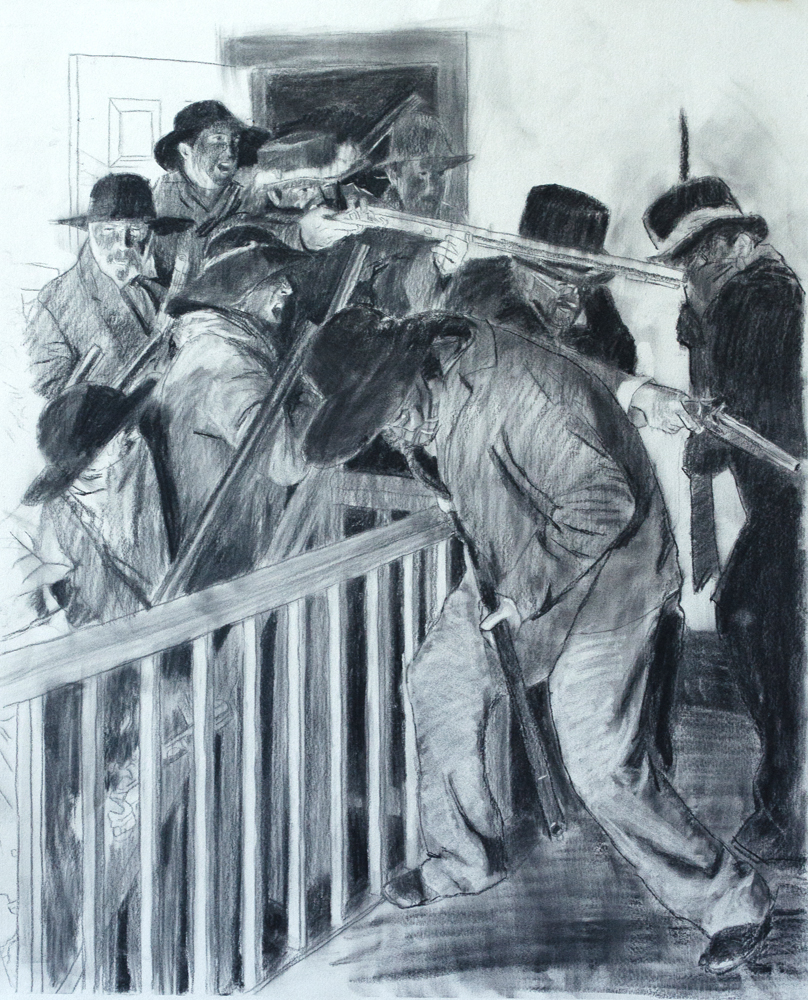Charcoal Study for Mob in the Hallway of the Jail