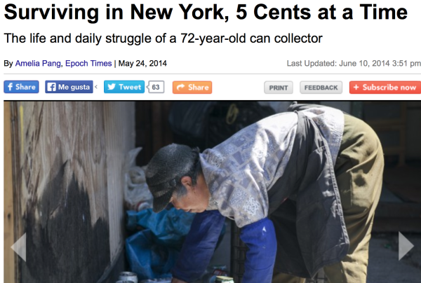 5/24/14 – The Epoch Times – by Amelia Pang :   Surviving in New York, 5 Cents at a Time