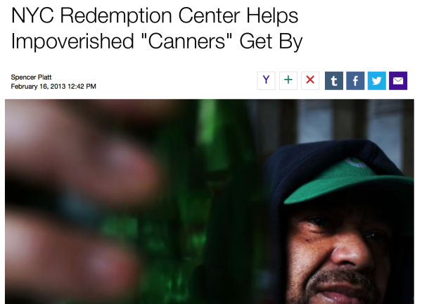 "2/16/13 – Getty Images – by Spencer Platt :   NYC Redemption Center Helps Impoverished   ""Canners"" Get By"