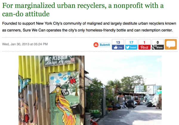 1/30/13- www.mnn.com – by Matt Hickman :   For marginalized urban recyclers, a nonprofit with a can-do attitude