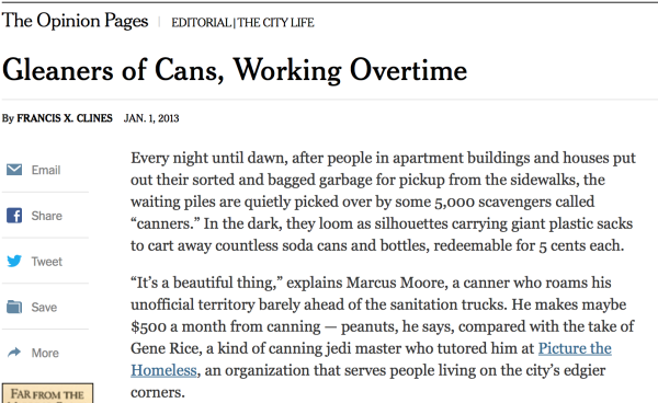 1/1/2013 – New York Times  – by Francis X. Clines :   Gleaners of Cans, Working Overtime
