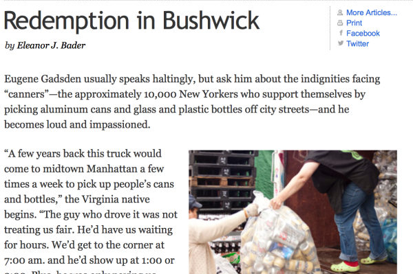 7/11/11 – Brooklyn Rail – by Eleanor J. Bader :   Redemption in Bushwick