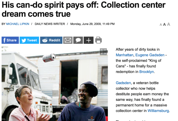 6/29/09 – NY Daily News – by Michael Lipkin :   His can-do spirit pays off: Collection center dream comes true