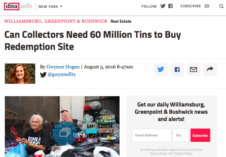 08/05/16 - DNA Info -  Can Collectors Need 60 Million Tins to Buy Redemption Site