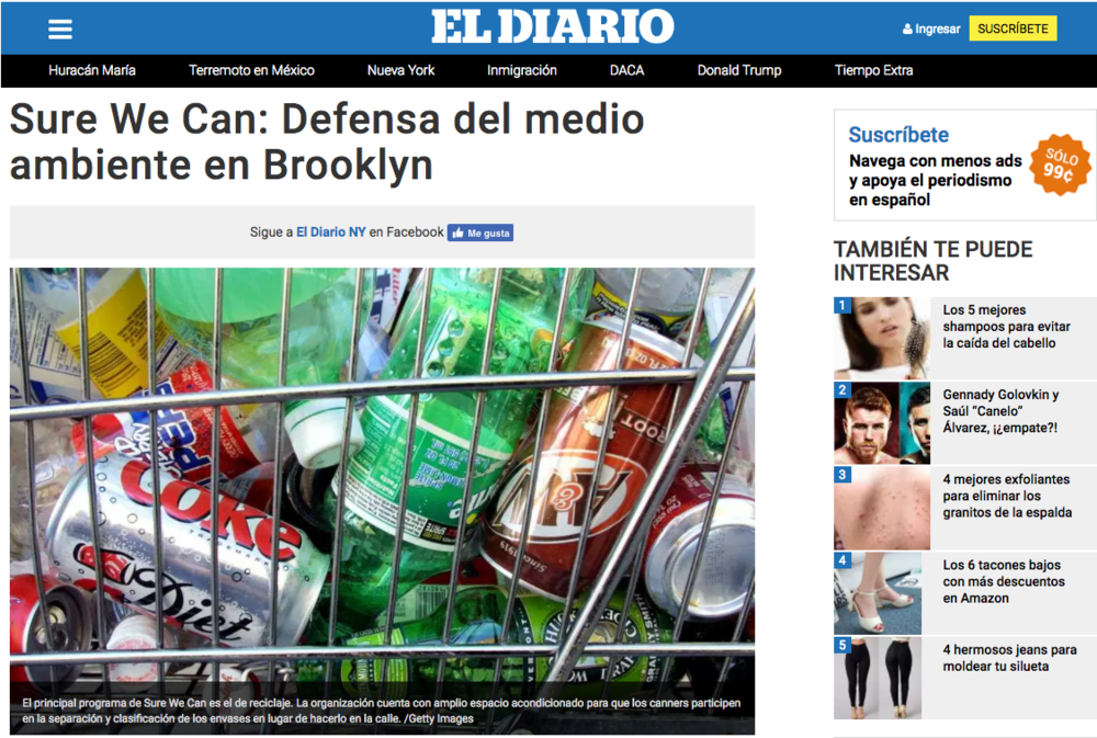 08/23/17 - El Diario - Sure We Can: Defensa del medio ambiente en Brooklyn