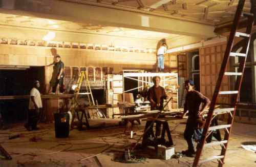 Construction continued almost around the clock, in order to meet the movie deadline.