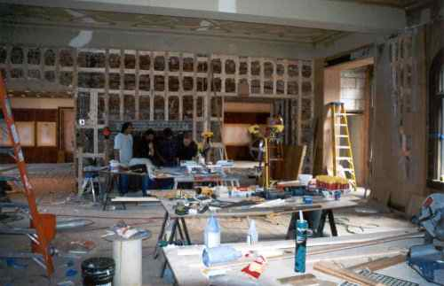 Here is the great hall while under construction during the day....