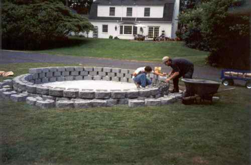 Three rows of concrete block were then added.