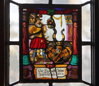 Medieval stained glass is incorporated into most of the windows at Thornwood castle. (Photos by Janet Jensen/Staff Photographer)