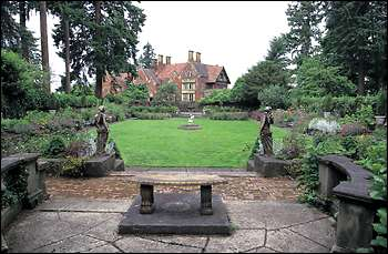 This view of Thornewood Castle is from the far end of the secret garden. The half-acre walled garden was part of the original 30 acres of formal gardens written up in a 1926 edition of House Beautiful and preserved on glass slides taken by the Garden Club of America.