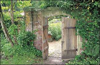 For the garden walls and castle, builders used 500-year-old brick imported from Wales. Heavy gates creak open to reveal the secret garden, built for Thorne's wife Anna.