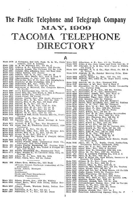 1909 Tacoma WA Telephone Directory Thornewood Castle