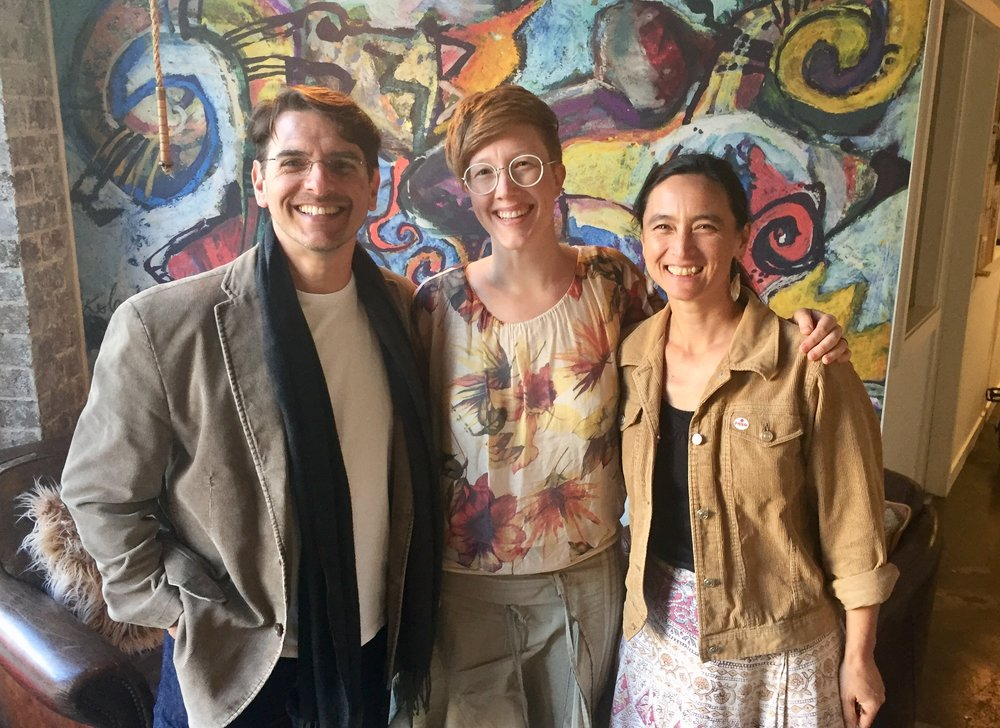 "Photo: (L) AGSC President, Church St tenant and composer on ABC's ""Pulse"" - Guy Gross. (Middle) NSW Attachment recipient, Maria Alfonsine. (R) AGSC Board member, Gender Equity Committee member, Church Street tenant and composer Caitlin Yeo. (Photo: Ollie Brown)"