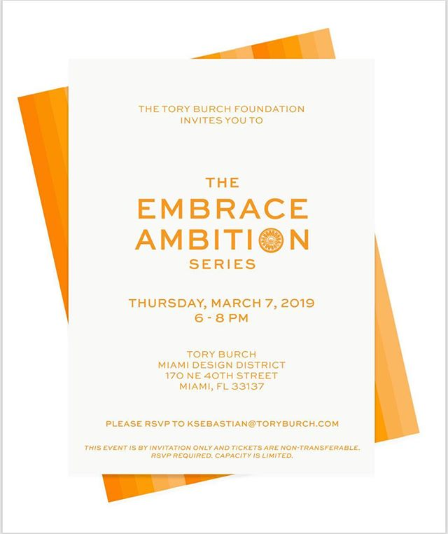 #let's represent Miami #femaleentrepreneurs #girlboss #RSVP early @toryburchfoundation #March 7 6-8pm Tory Burch Miami Design District