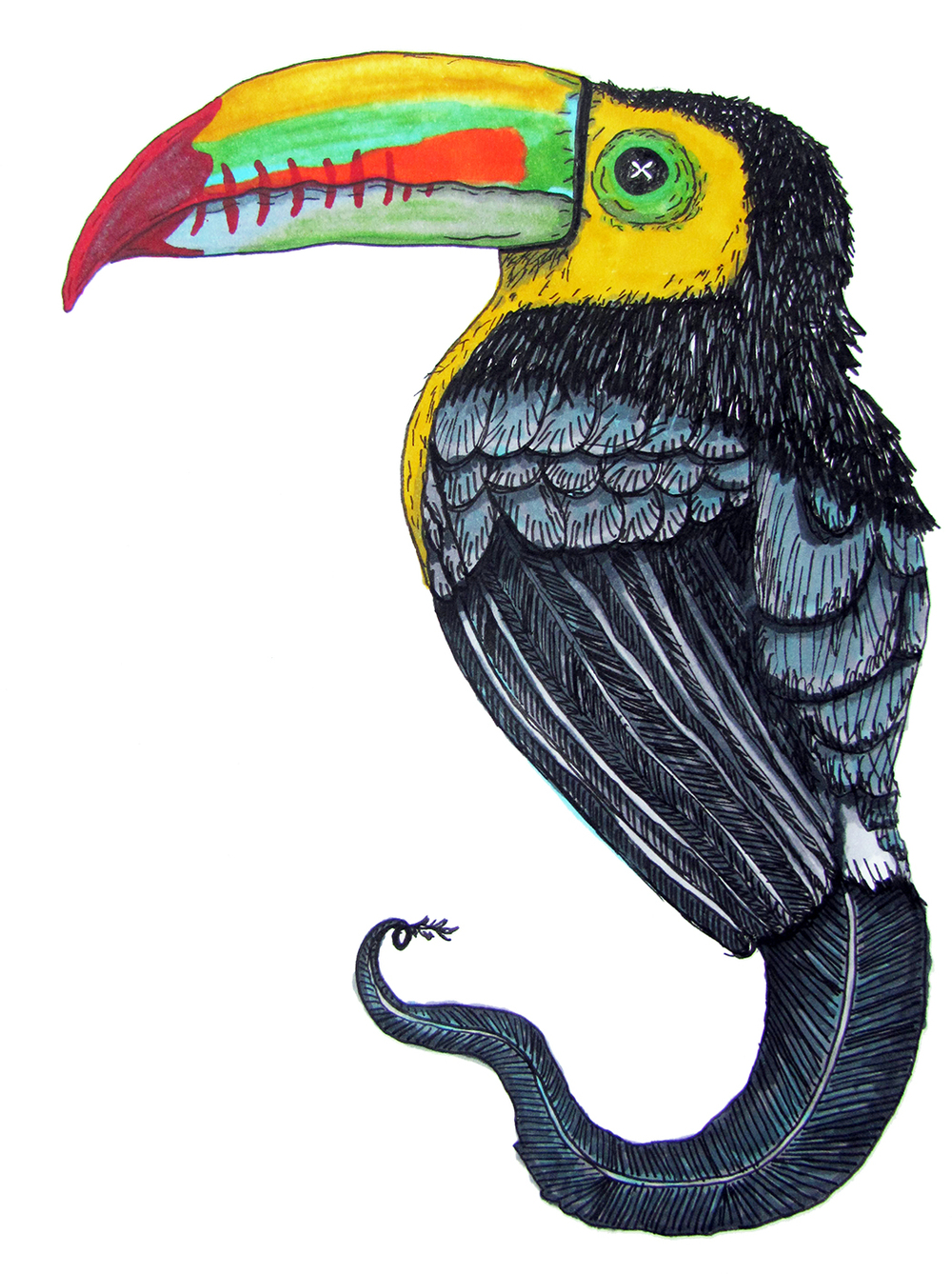 Toucan Ghost / marker and pen / 2016