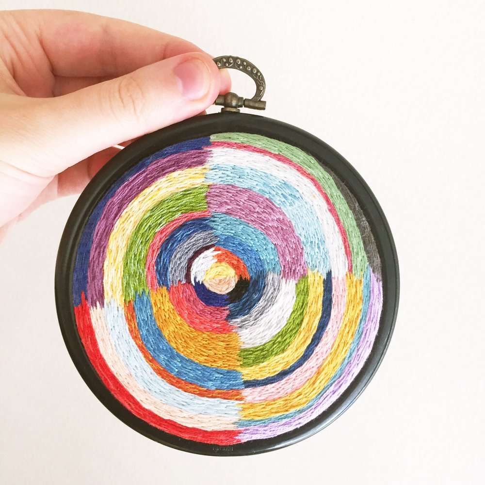 Embroidery inspired by Robert Delaunay's artwork.