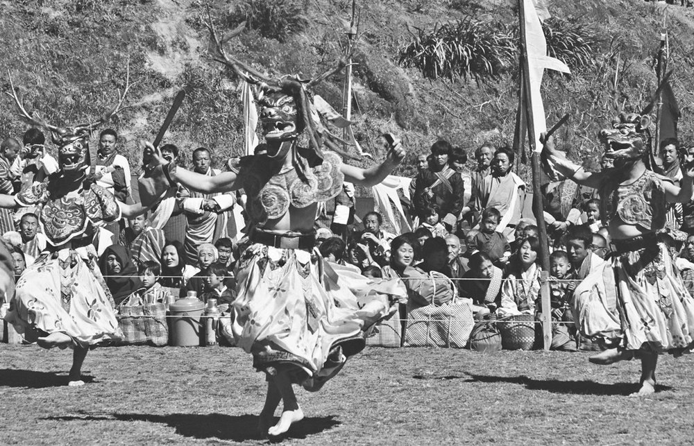 Masked dances have long been part of Bhutan's cultural and religious tradition.  Often the masks are of animals, both mythical and found in the region.