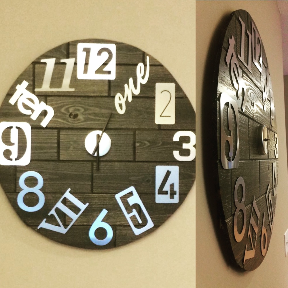 Project guide diy clock the rustic collection marie took the clock home around an hour later stained the cut edges to give it a more seamless look and hung it on wall in her kitchen amipublicfo Image collections