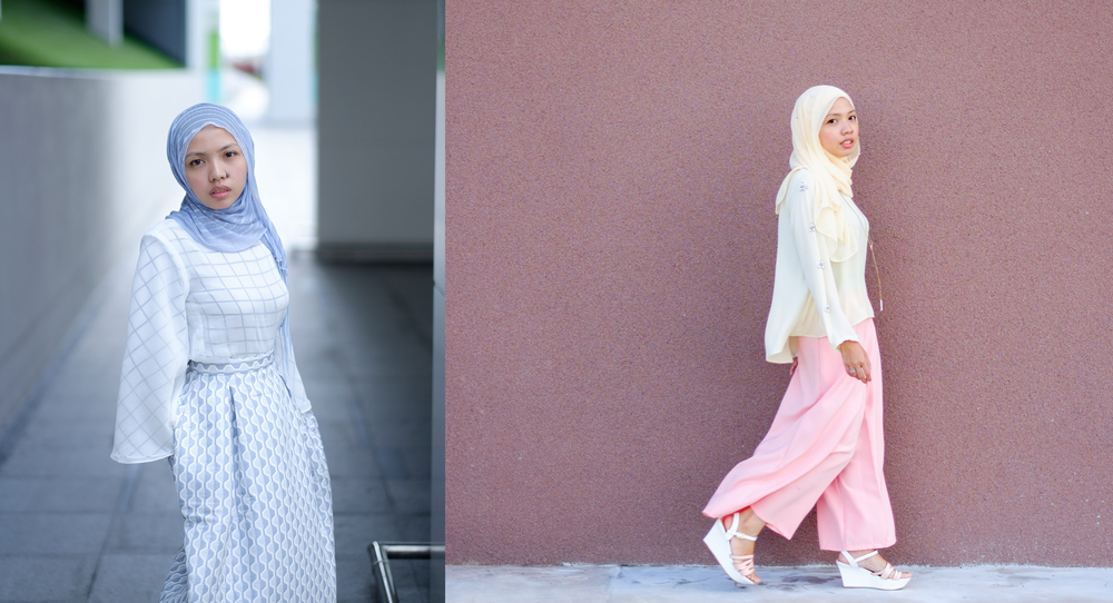 (L) I donned a geometric ensemble with Mimpikita's  maple skirt  and Dian Serra's top from Zaven Haven's first collection.. (R)For a laid-back look, I paired the White Loose-Top with  FV Basic Culottes . Pictures by  Izzy Osman