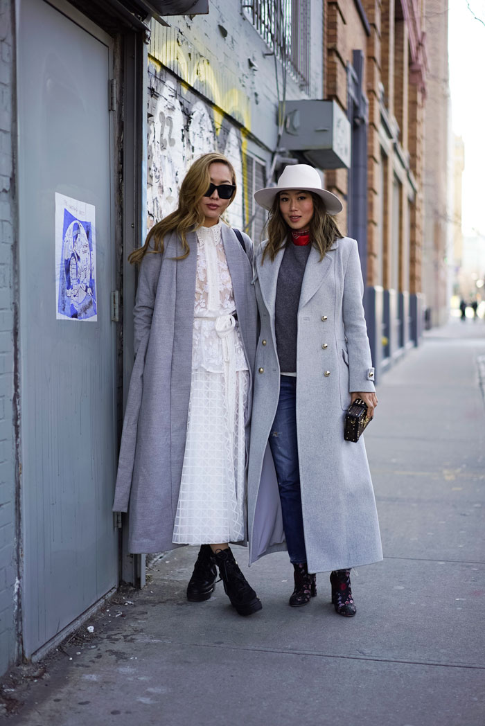 Aimee Song and Dani Song during New York Fashion Week. Picture: Song of Style