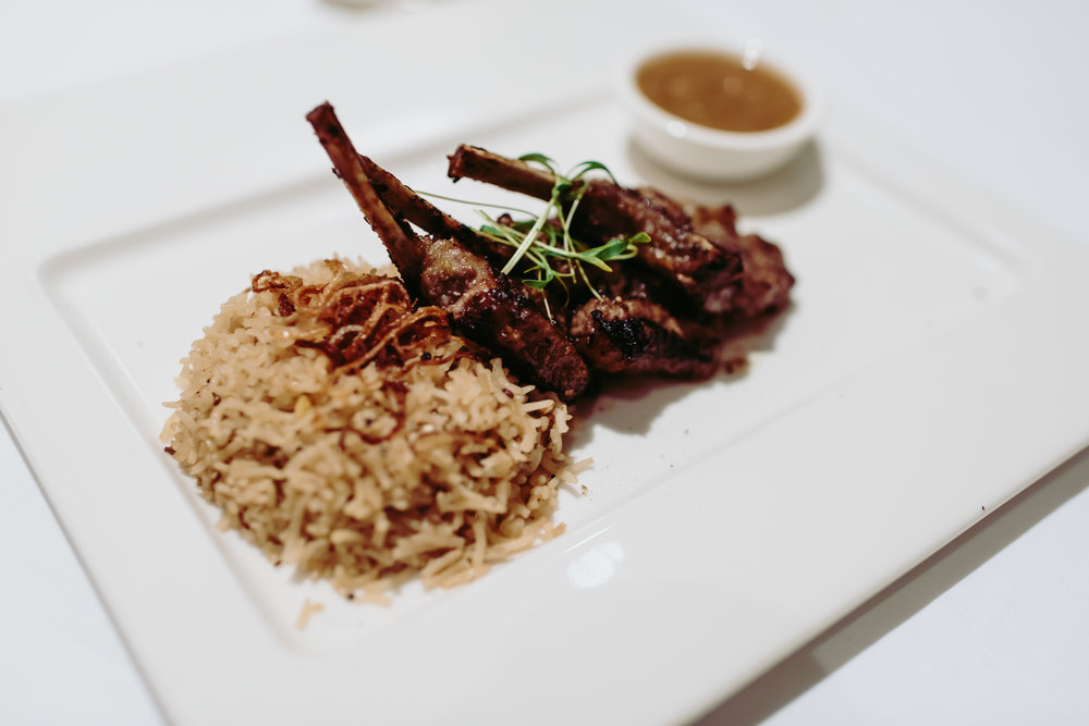 It wouldn't be a middle-eastern menu without meat and fragrant rice, like this rack of lamb with fried rice. Borrowing from the asian flavours a little here.