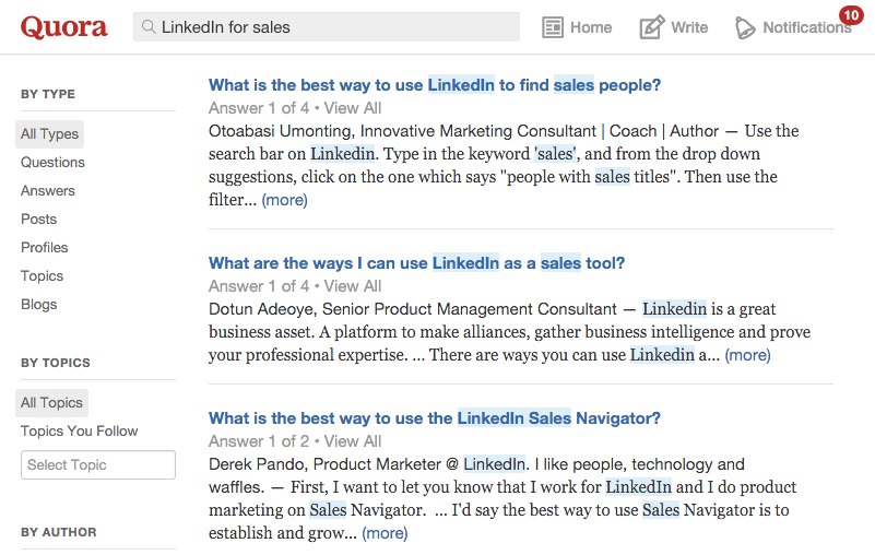 "Quora search results for ""LinkedIn for Sales"""