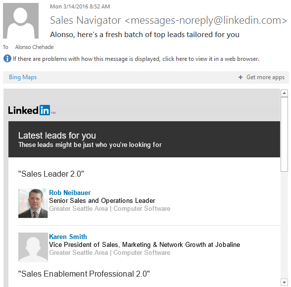 sales navigator new search matches email notifications