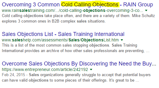 search results to find new target keyword