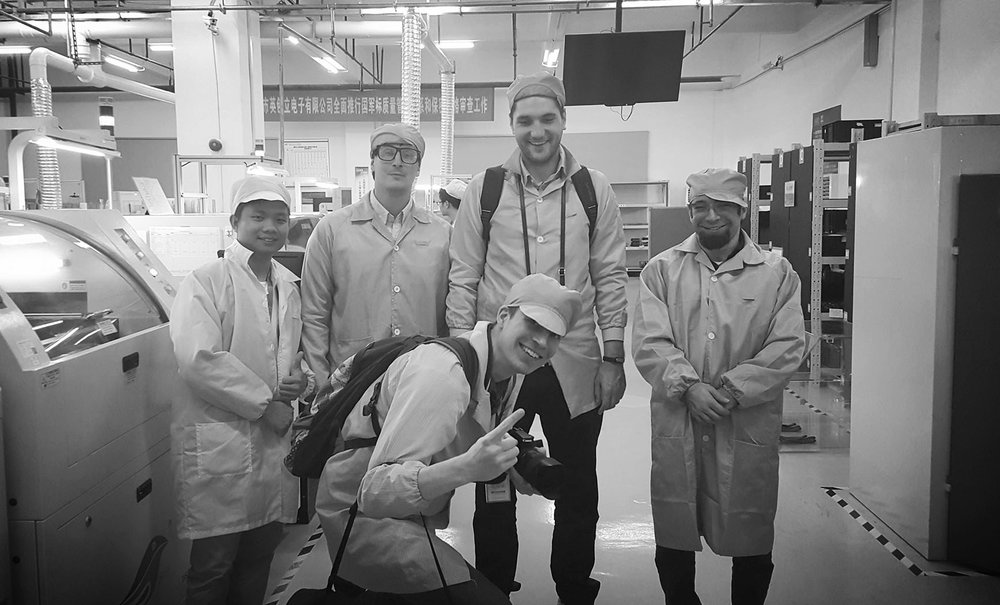 Andy Karuza with the FenSens team touring manufacturing facilities in China.