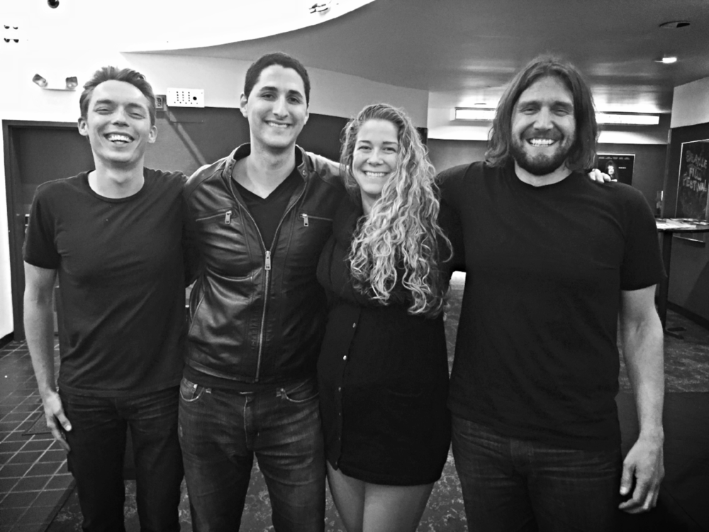 """My wife and I with Joshua Fields Millburn (left)and Ryan Nicodemus (right)also known as """"The Minimalists"""" at the Seattle screening of their new documentary on Minimalism."""