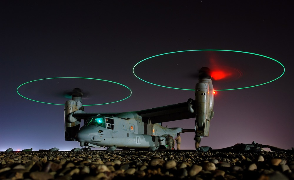 A V-22 Osprey helicopter idles in Iraq.