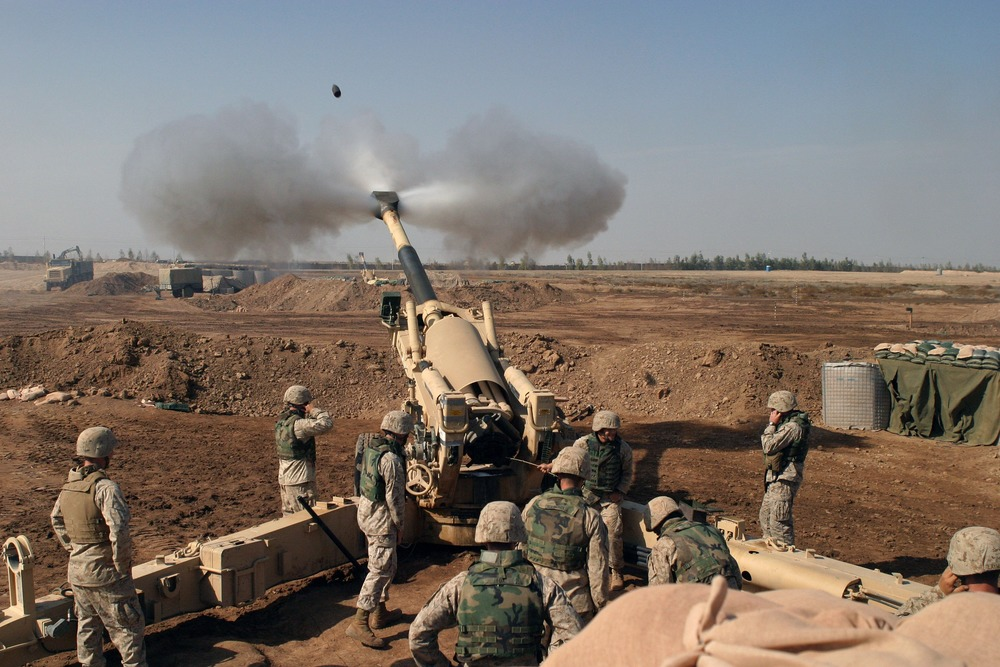 U.S. Marines first artillery in support of combat operations in Falluja, Iraq.