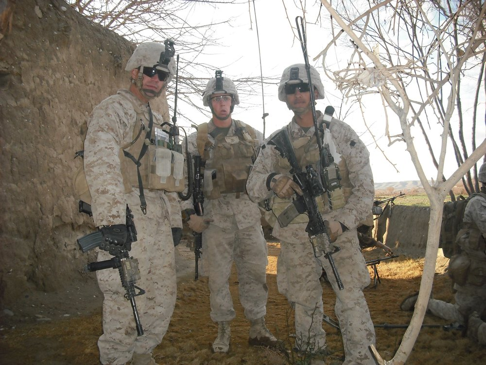Staff Sgt. Alex Reyes, left, on patrol outside of Patrol Base Griffin with Second Lt. Jason Blydell, center, and Sgt. Raphael Peguero. Photo courtesy of Veronica Ortiz Rivera.