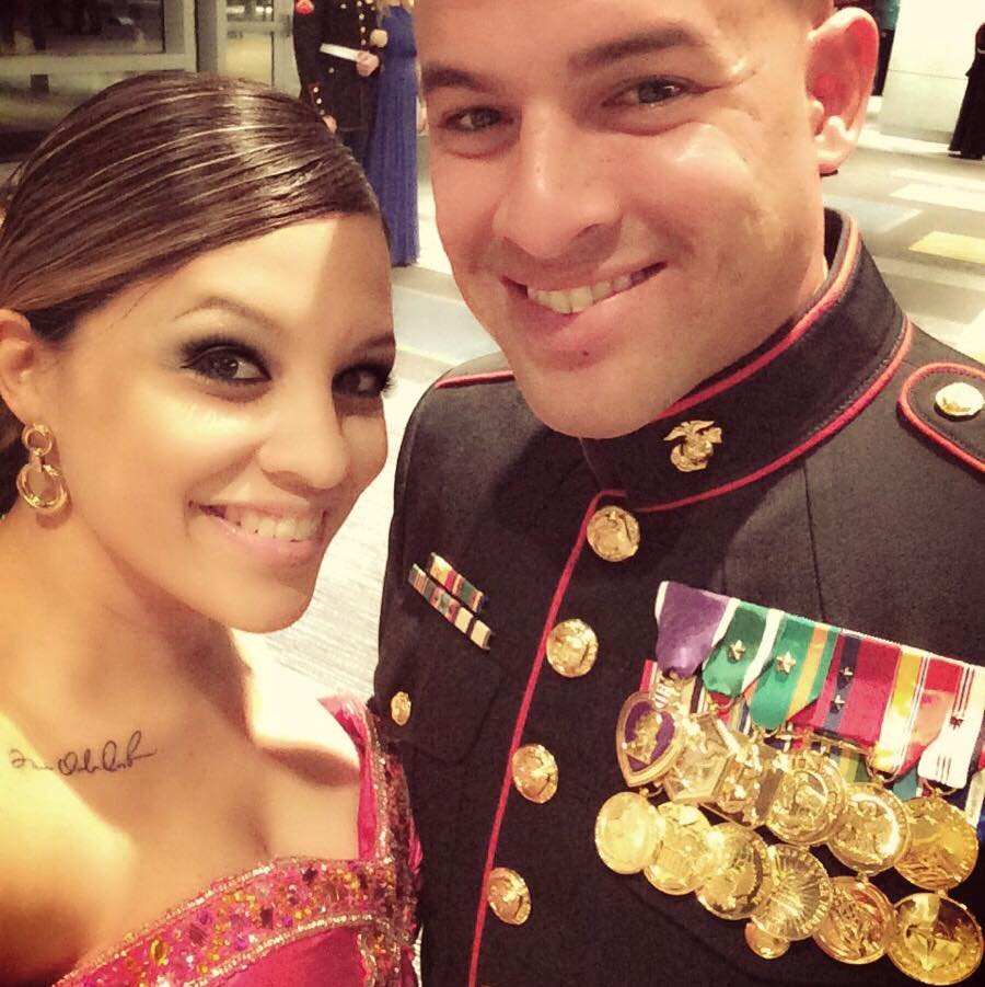 Veronica and Junior during the 2014 Marine Corps Ball at Camp Lejeune, N.C.. Photo courtesy of Veronica Ortiz Rivera.