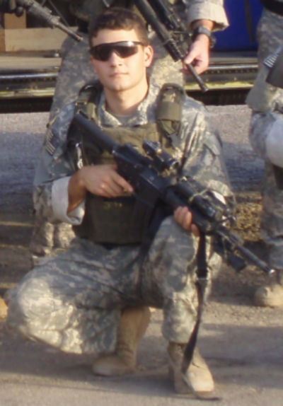 Ian Perkins, pictured here in Baghdad in 2007, served with the 1st Ranger Battalion, 75th Ranger Regiment. Photo courtesy of Derrick Perkins.