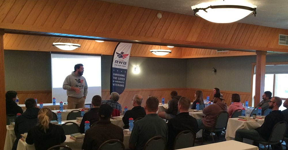 David discussed expressive writing with veterans at Team Red, White & Blue's inaugural storytelling camp in Gaylord, Michigan, May 2016. Photo courtesy of David Chrisinger.