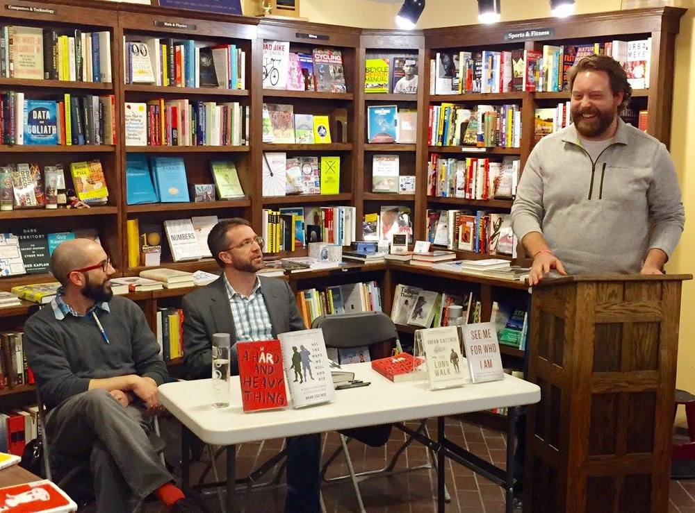 David introduces fellow writers and military veterans Brian Castner and Matthew Hefti during a book reading in Madison, Wisconsin during March 2016. Photo courtesy of David Chrisinger.